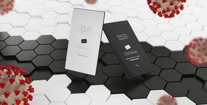 mobile phone white and black Coronavirus Covid-19 symbolic 3d-illustration