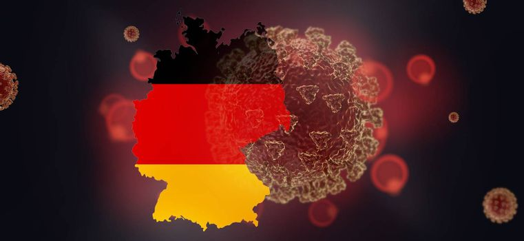 map of Germany and Coronavirus concept background 3d-illustration