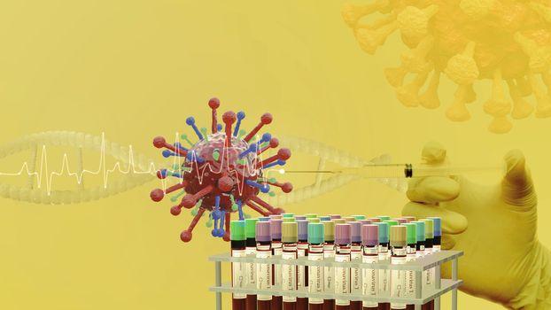Corona 19 vaccine test, Bio lab test with coronavirus vaccine, B