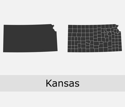 Kansas map counties outline