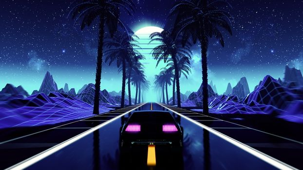 80s retro futuristic sci-fi seamless loop with vintage car. Riding in retrowave VJ videogame landscape, blue neon lights and low poly grid. Stylized cyberpunk vaporwave 3D animation background. 4K