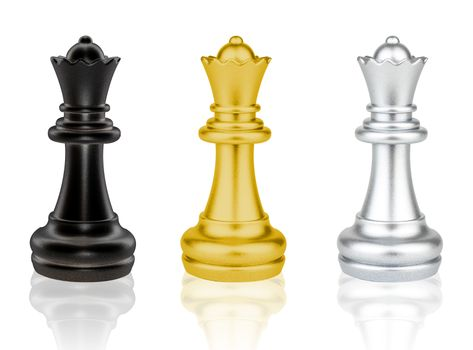The black, gold and silver Queen Chess pieces battle isolated on white background
