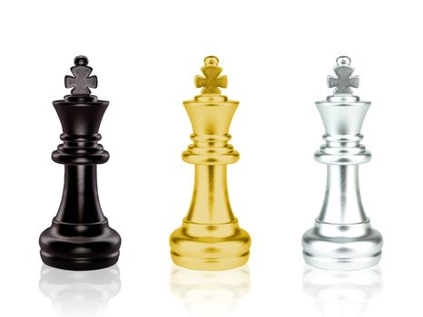 The black, gold and silver King Chess pieces battle isolated on white background