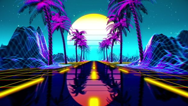 80s retro futuristic sci-fi background. Retrowave VJ videogame landscape with neon lights and low poly terrain grid. Stylized vintage cyberpunk vaporwave 3D render with mountains, sun and stars. 4K