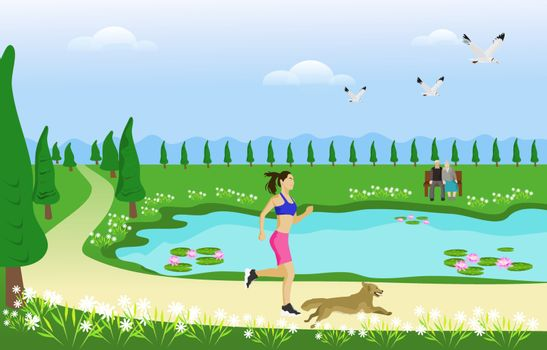 The woman and her dog are jogging on the way in the park. With swamps and green grasslands as the background