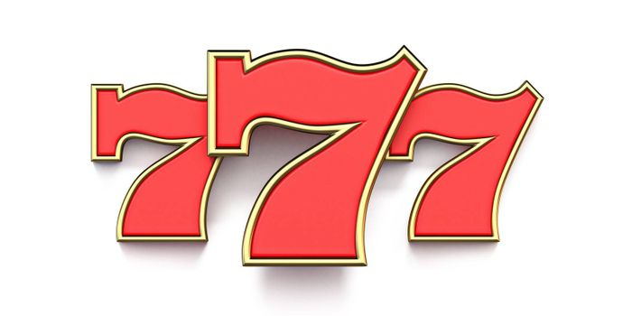 777 casino sign 3D render illustration isolated on white background