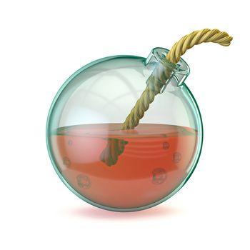 Glass bomb 3D render illustration isolated on white background