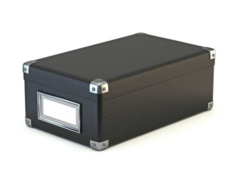 Black leather box 3D render illustration isolated on white background