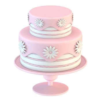 Pink white cake with flowers decoration 3D render illustration isolated on white background
