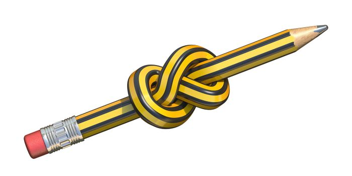 Pencil knot 3D render illustration isolated on white background