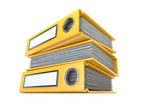 Yellow file folders 3D render illustration isolated on white background