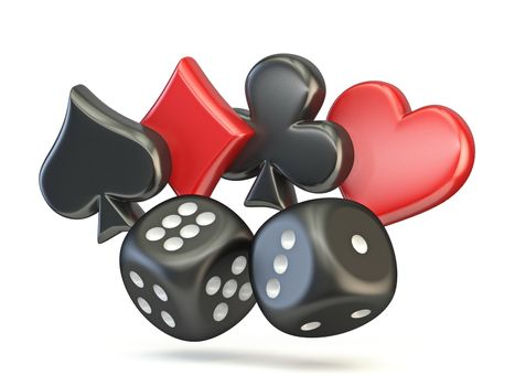 Spade, diamond, club and heart with two black dices 3D render illustration isolated on white background
