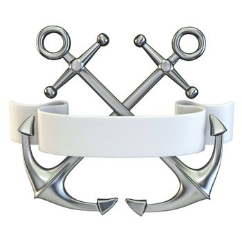 Two crossed anchors with white ribbon 3D render illustration isolated on white background