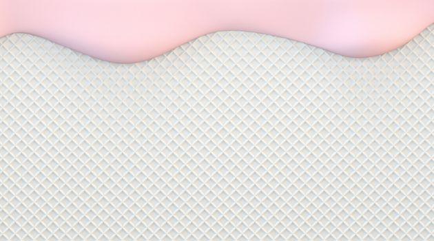 Pink strawberry cream 3D render illustration on white wafer