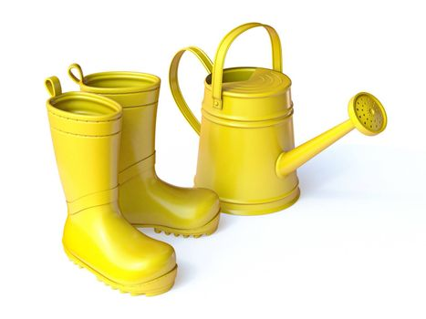 Yellow boots and watering can 3D render illustration isolated on white background