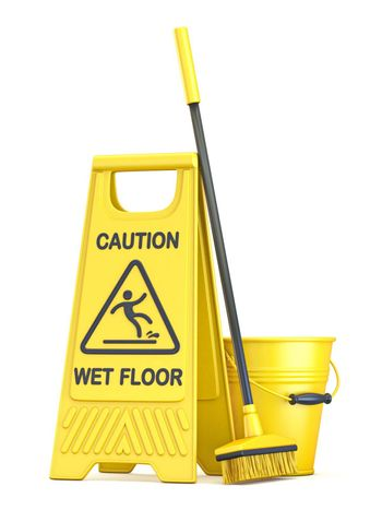 Yellow wet floor sign 3D render illustration isolated on white background