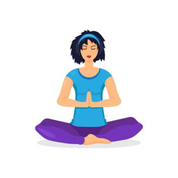 Training yoga young woman in the prayer position isolated on white background. Vector