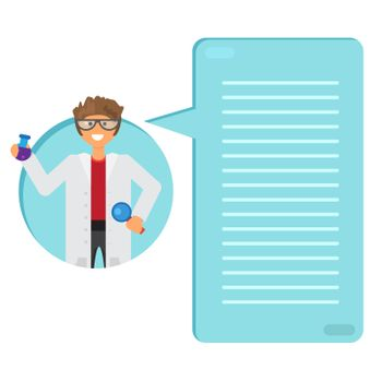 Scientist learning substance in flask. Thinking list. Template or blank with science and innovation concept.. Vector