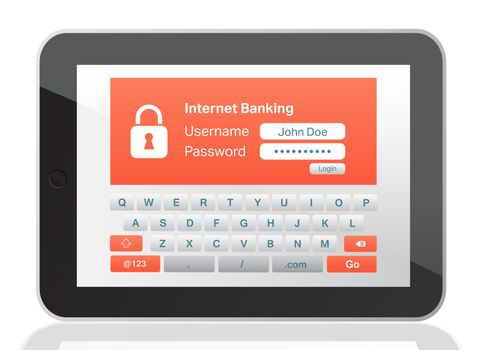 Bank application on tablet