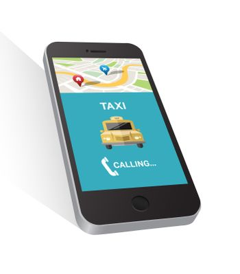 Taxi application on smartphone