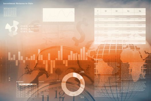 Business interface with graphs and data