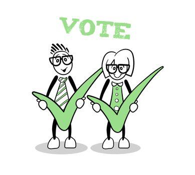 Cute cartoons showing green voting ticks