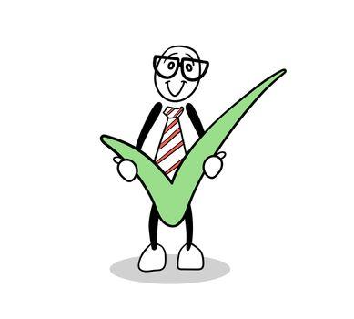 Cute cartoon holding green tick