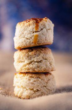 homemade scones on a sackcloth