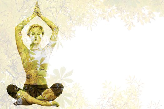 Calm blonde meditating in lotus pose with arms raised against autumnal leaves against the clear sky