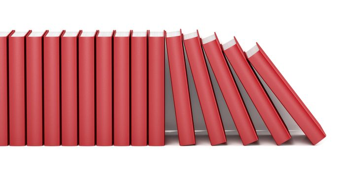 Row with red books on white background