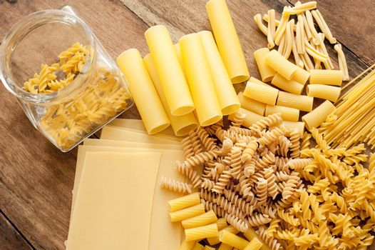 Selection of assorted dried Italian pasta