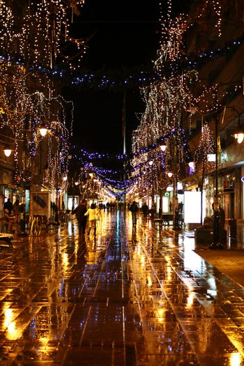 new yearly decorated street