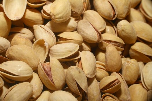 pistachios roasted in market, macro close up