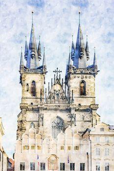 Tyn Church, landmark of Prague, Czech Republic