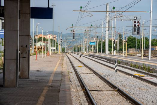 terni and rails station in the absence of trains for covid emergency