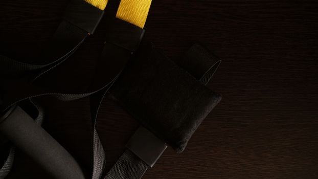 Closeup view of suspension training at home