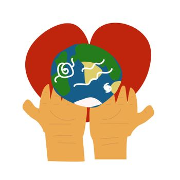 two palms hold the globe on the background of the heart. Ecology Day. Vector illustration in hand drawn style