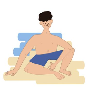 a man sits on the sand in shorts. Vector illustration in hand-drawn style
