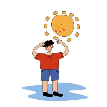 An Asian-looking man received a sunstroke. Heatstroke. Vector illustration with contour in hand-drawn style