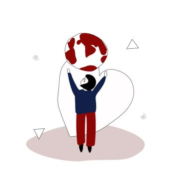The girl reaches for the globe to hug him. Environment Day. Environmental protection. Vector illustration in hand-drawn style
