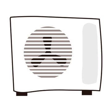 outdoor air conditioning. Vector illustration in hand-drawn style