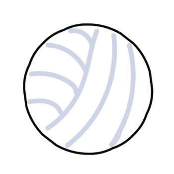 Vector illustration of a volleyball drawn in a cute style with a black outline and flat shadows. Isolated on white