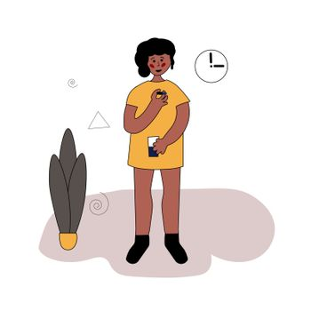 A young black girl is drinking medicine. She holds a pill and a glass of water in her hands. Disease treatment. The child is being treated. Vector illustration in hand-drawn style