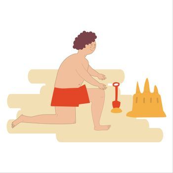 Little boy making sand castle isolated on white. Vector illustration in hand-drawn style