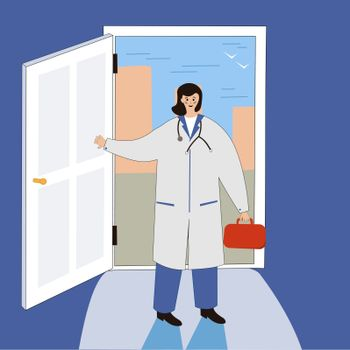 Smiling female doctor at the door. Funny character design. Stylized Cartoon Illustration. Doctors at home Visiting medical services Promo Poster. Banner advertising. Seek professional medical attention.