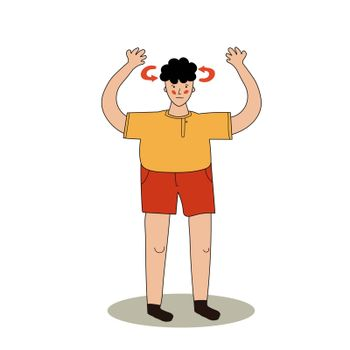 A man in shorts is dizzy. In humans, vertigo. Heat stroke from the sun. Vecton illustration in hand-drawn style