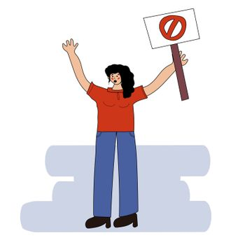 The girl at one picket. Female protest. Rally for women's rights. Demonstration. A girl is standing with a tent. Vector illustration in hand drawn style