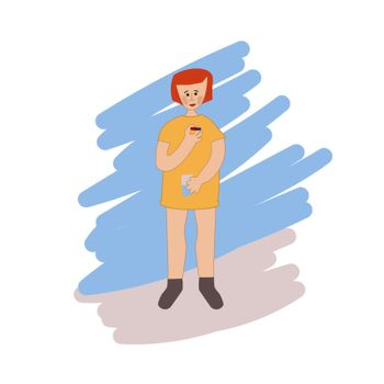 A young girl is drinking medicine. She holds a pill and a glass of water in her hands. Disease treatment. The child is being treated. Vector illustration in hand-drawn style