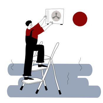An installer or repairman of air conditioners. A joyful repairman on a stepladder. Vector illustration in hand-drawn style