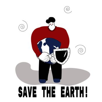 man holds earth in his hands. environment day. Save the Earth. Environmental Protection. Vector illustration in hand drawn style.